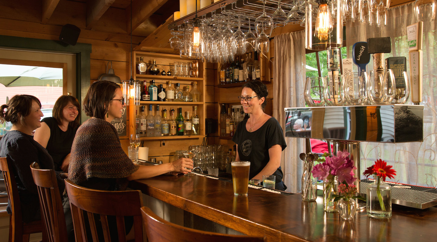 The rustic bar at our New Hampshire Lakes Region restaurant