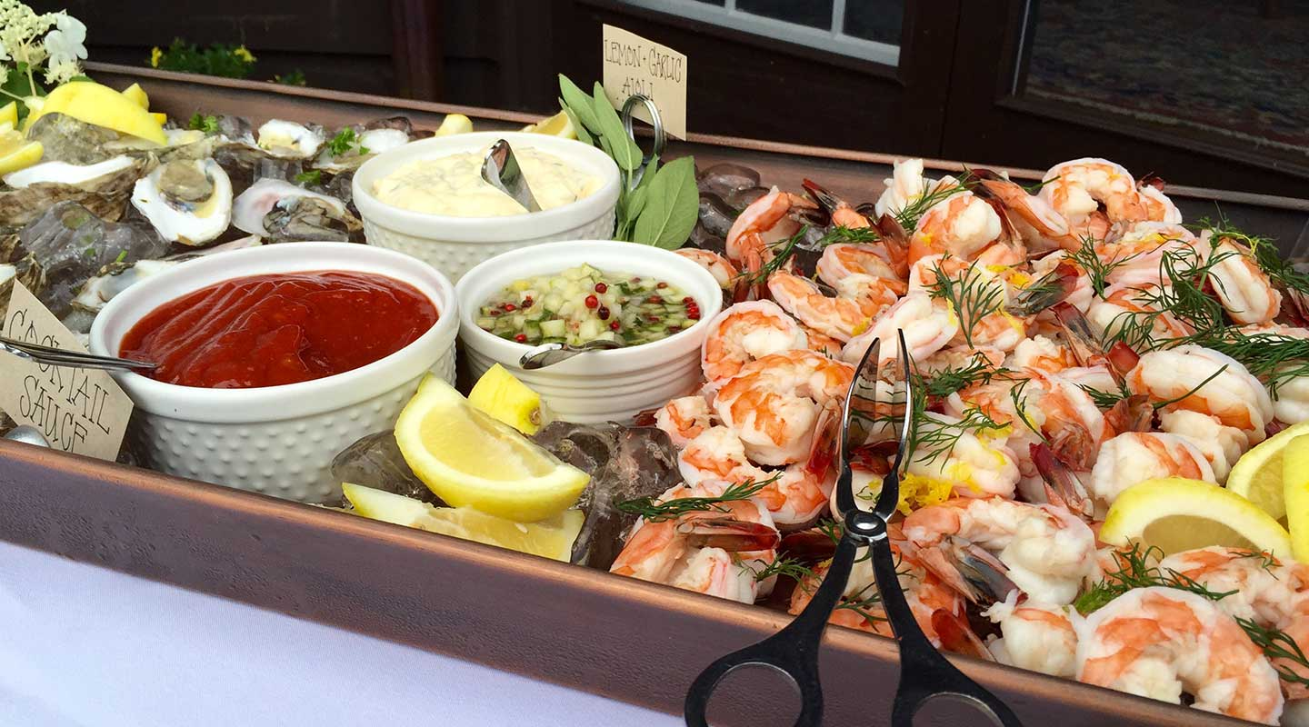 Fresh seafood spread from our exceptional catering team in Holderness, NH